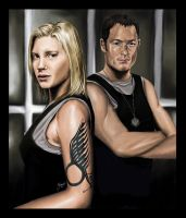 BSG: Starbuck and Helo by jeminabox