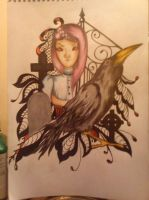 Girl with crow by Bark by Barkash