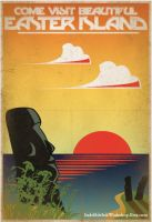 Retro Easter Island Travel Poster by IndelibleInkWorkshop