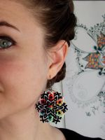 Rainbow Mandala Earrings - Multicolor Macrame Knot by floriknoture