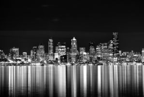 Seattle Skyline From Alki Beach by electric-lime
