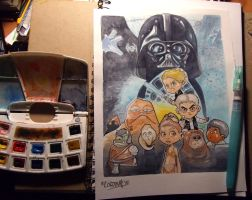 Starwars watercolors commission by renecordova