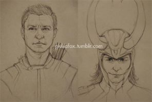Hawkeye and Loki - works in progress - by JuliaFox90