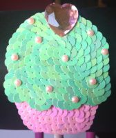 mint and pink cupcake headband by messypink