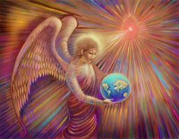 Angel Holding The World by DivineLightAngels