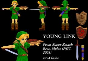 Young Link 3D Model, SSBM by Vert092