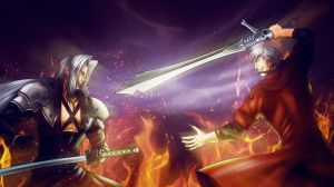 Sephiroth vs Dante by Azaggon