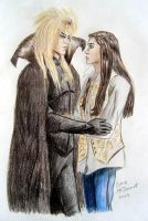 Jareth, Sarah from Labyrinth by cormak