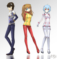 Evangelion - The Pilots by Might-Masamune
