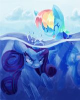 RQ: Rarity and Rainbow Dash by Paintrolleire
