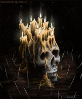 candles on skull by AtomiccircuS