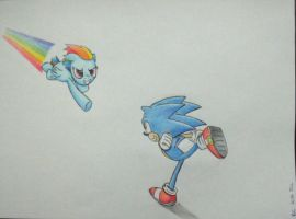 Sonic and Rainbow Dash by rchaos