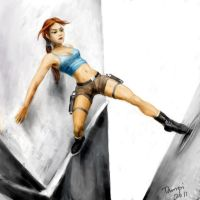 Lara Croft between walls. by tampico