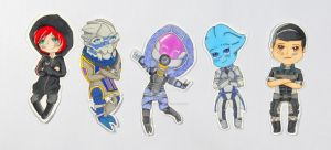 Commission - FemShep, Garrus and Tali Chibis by TheenyThoos