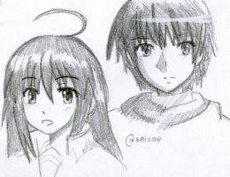 sketch dump: shana and yuji by keiZap