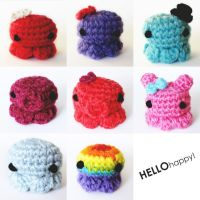 Tiny Kawaii Amigurumi Octopus Army by hellohappycrafts