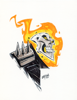 Inktober Day 28 - Ghost Rider by DerekLaufman