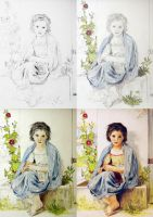 The Little Knitter - Drawing Process by PMucks