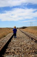 Stock image Boy on the tracks by mindym306