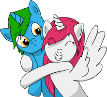 Rini and Shield - Squee Hug by shieldgenerator7