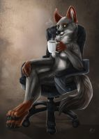 Tired vixen Will Coffee! by Key-Feathers