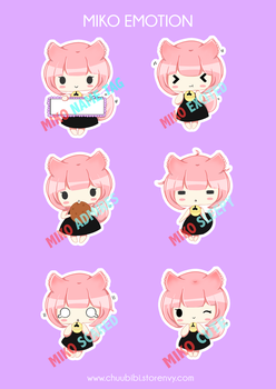 Miko Stickers by Chuubibii