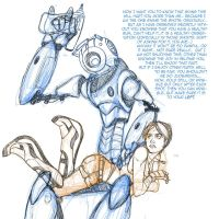 Wheatley+Chell 'Booster Shots WIP by JasmineAlexandra
