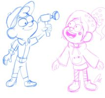Felix and Vanellope - Gravity Falls Sketch by ashleyMO