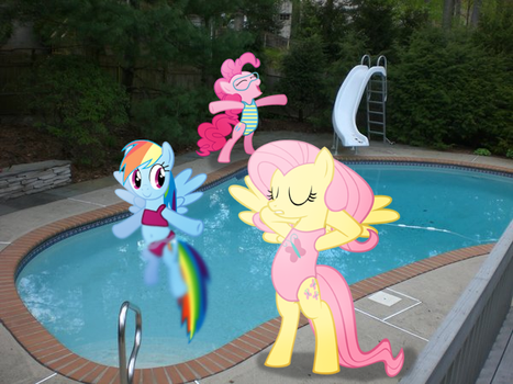 Dashie, Fluttershy, and Pinkie's day at the pool! by sweetannabee
