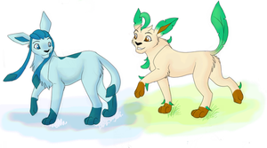 Glaceon and Leafeon by Kainaa