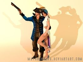 RE6 Mercenaries Costumes: Pirate Leon x Chipao Ada by mayarokuaya
