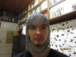 Chainmaille coif front by Sizbang