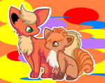 Vulpix and Flareon by AmbipomxShine