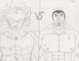 Broly VS. Hulk by EmeraldGrizzly