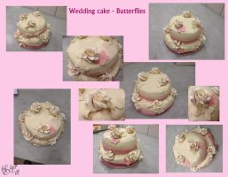 Wedding cake - Butterflies - collage by Gwendelyn