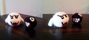 Needle felted Boo and Chain Chomp by capotasto