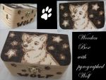 Wolf Box Pyrography by weisewoelfin