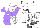 Ghasteon (Espeon and Ghastly fuison!) by DeliciousChimeras
