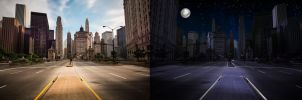 Day to Night Transformation: City Street by cthebeast123