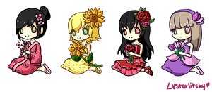 Flower Gijinkas by LVStarlitSky