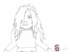 uchiha madara  lineart by sharingandevil