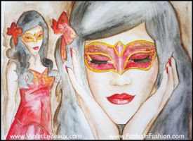Fables in Fashion Christmas Masquerade Portrait by VioletLeBeaux
