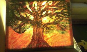 lighted tree painting by ShOeBoXfAn130