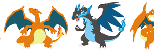 Charmander, Charmeleon, Charizard and Megas Base