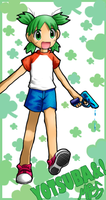 Yotsuba and watergun o' DOOM by morganchan