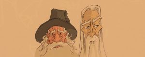 gandalf the grey and sarouman the white by Debarsy