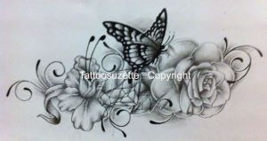 Flower and butterfly tattoo design with diamond by tattoosuzette