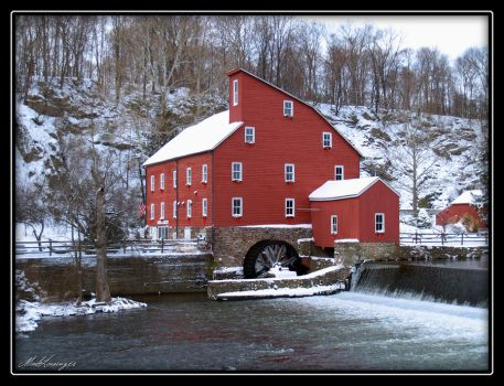 Red Mill in Winter by Dracoart