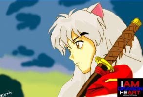 Inuyasha Stares at Dawn Sky by IAMDRAGONHEART