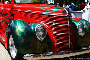 Red car Green Flames by Riphath
